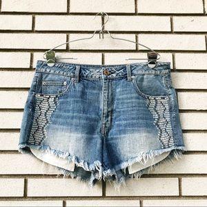 AEO Hi-Rise Festival Painted Jean Shorts